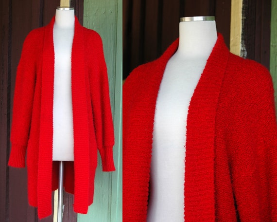 HOLIDAY 1990s Red Slouchy Knit Oversized Cardigan