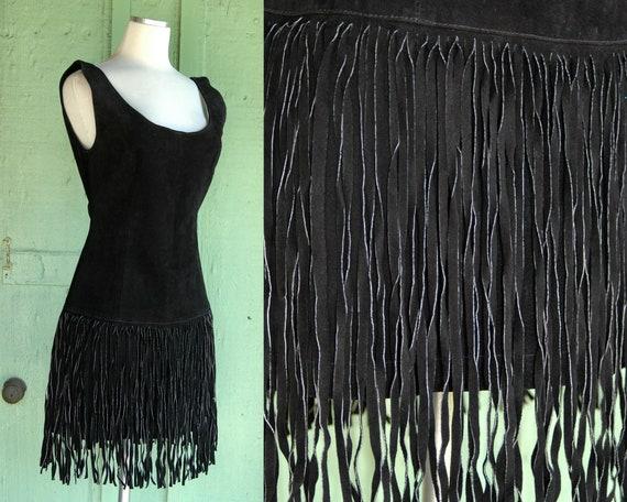 1980s 1990s Black Suede Mini Dress with Fringe Sk… - image 1