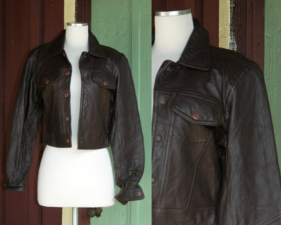 1980s Chocolate Brown Leather Trucker Jacket // 80
