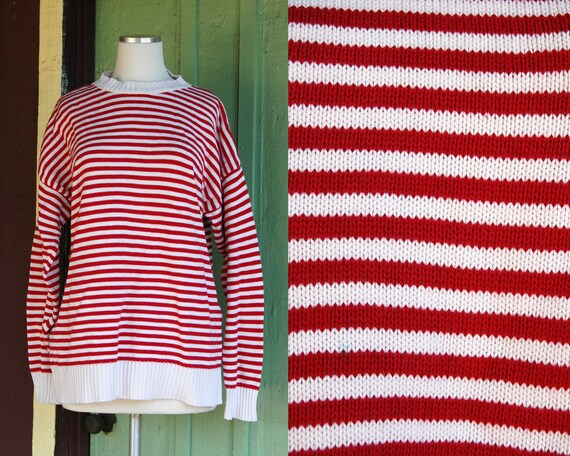 1990s Red White Striped Knit Sweater // 90s Red an