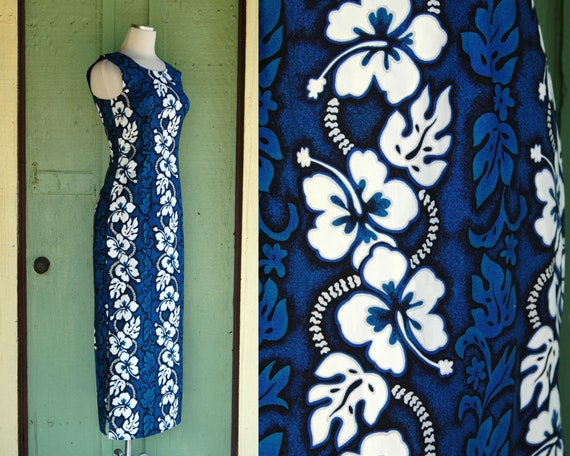 1990s Blue and White Hawaiian Floral Dress // 90s