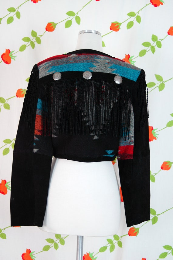 1980s Black Suede Leather Western Chimayo Cropped… - image 7