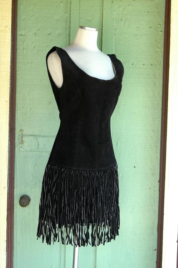 1980s 1990s Black Suede Mini Dress with Fringe Sk… - image 6