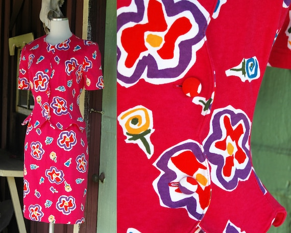 1980s 1990s Bright Pink Floral Skirt & Top Set //