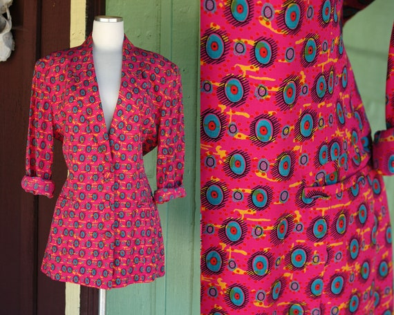 1980s 1990s Bright Pink Blazer with Green, Yellow