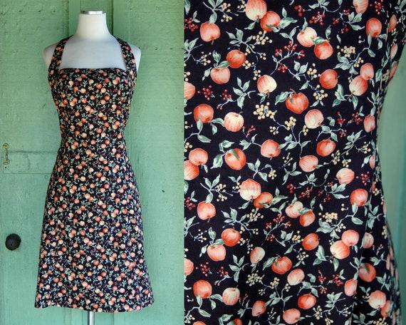 1990s Apple Print Halter Dress // 90s Black Halter