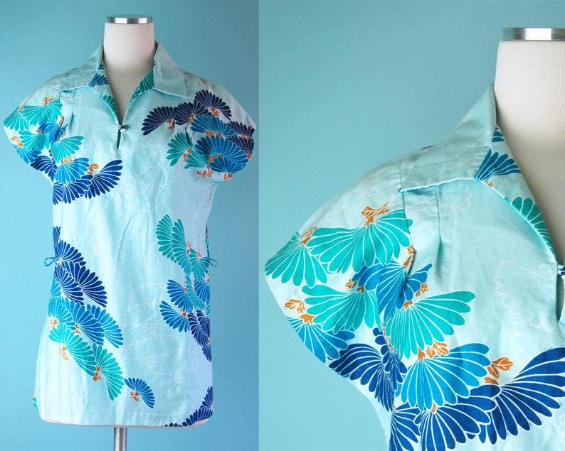 1970s Light Blue Turquoise Tropical Print Hilo Hattie\u2019s Hawaii Tunic Top  70s Beach Tunic Shirt