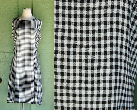 1990s Black and White Checkered Jumper // 90s Blac
