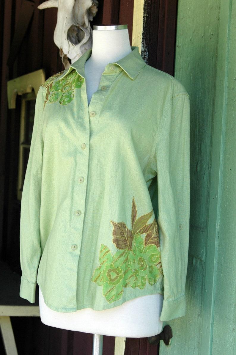 Green Linen Button Up Long Sleeve Top Light Green Collared ...