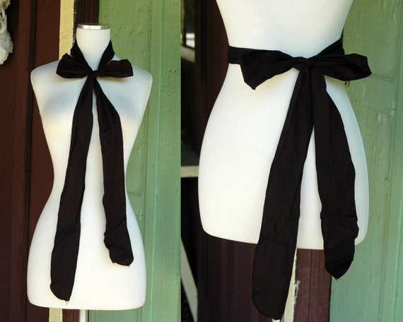 Black Fabric Headscarf Belt Necktie Bow
