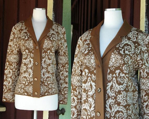 1960s 1970s Brown Tan Catalina Jacquard Cardigan S