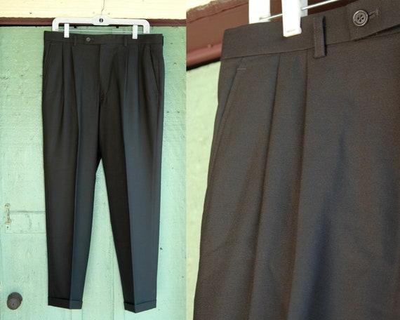 Dark Green Wool Trousers // Pine Green Men's Dress