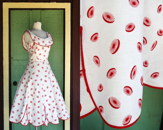 1950s Pat Premo White and Red Fit and Flare Dress