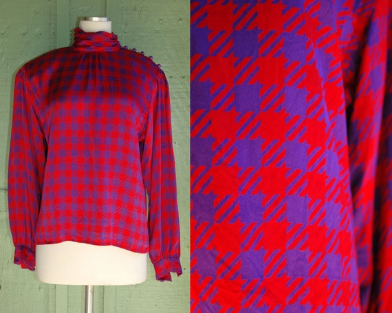 1980s 1990s Red and Purple Checked Silk Turtleneck