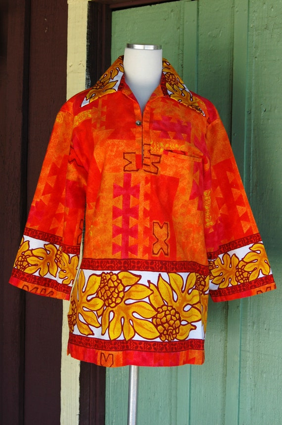 1960s Red Orange Yellow Tropical Hawaiian Print T… - image 3