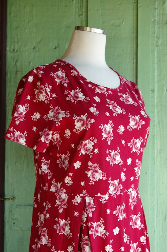 1990s 2000s Red and White Rose Print Laura Ashley… - image 5