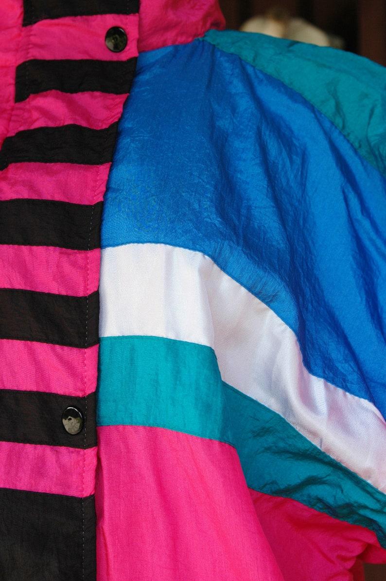 Purple Black Striped Circle 1990s Pink Graphic Print Warm Up Sweatsuit  90s Pink Blue Green