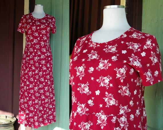 1990s 2000s Red and White Rose Print Laura Ashley… - image 1