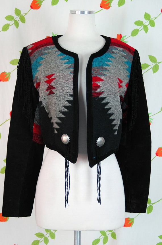 1980s Black Suede Leather Western Chimayo Cropped… - image 4