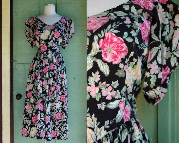 1990s Laura Ashley Pink and Yellow Floral Print D… - image 1
