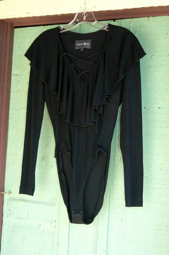 1990s Black Lace Up Leotard with Ruffle