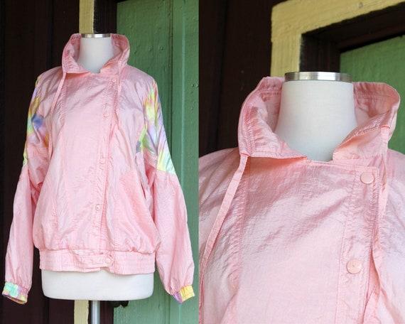 1980s 1990s Pastel Pink Nylon Warm Up Jacket // 80