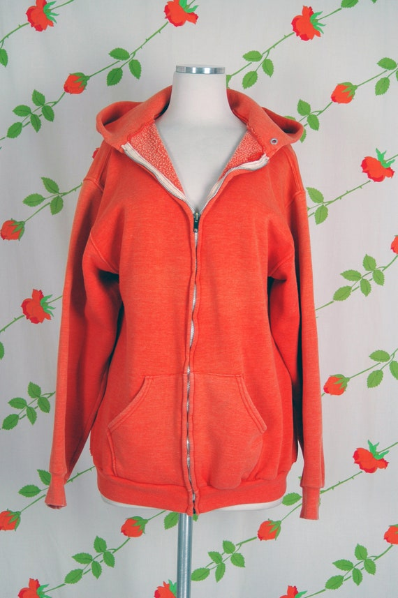 1970s Russell Athletic Orange Faded Zip Front Hoo… - image 2