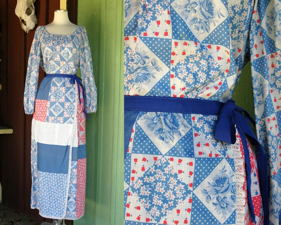 1970s Light Blue, White, Pink Patchwork Quilted Wr