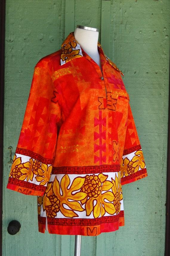 1960s Red Orange Yellow Tropical Hawaiian Print T… - image 2