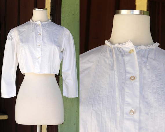 1970s 1980s Victorian Antique Inspired Cropped Bl… - image 1