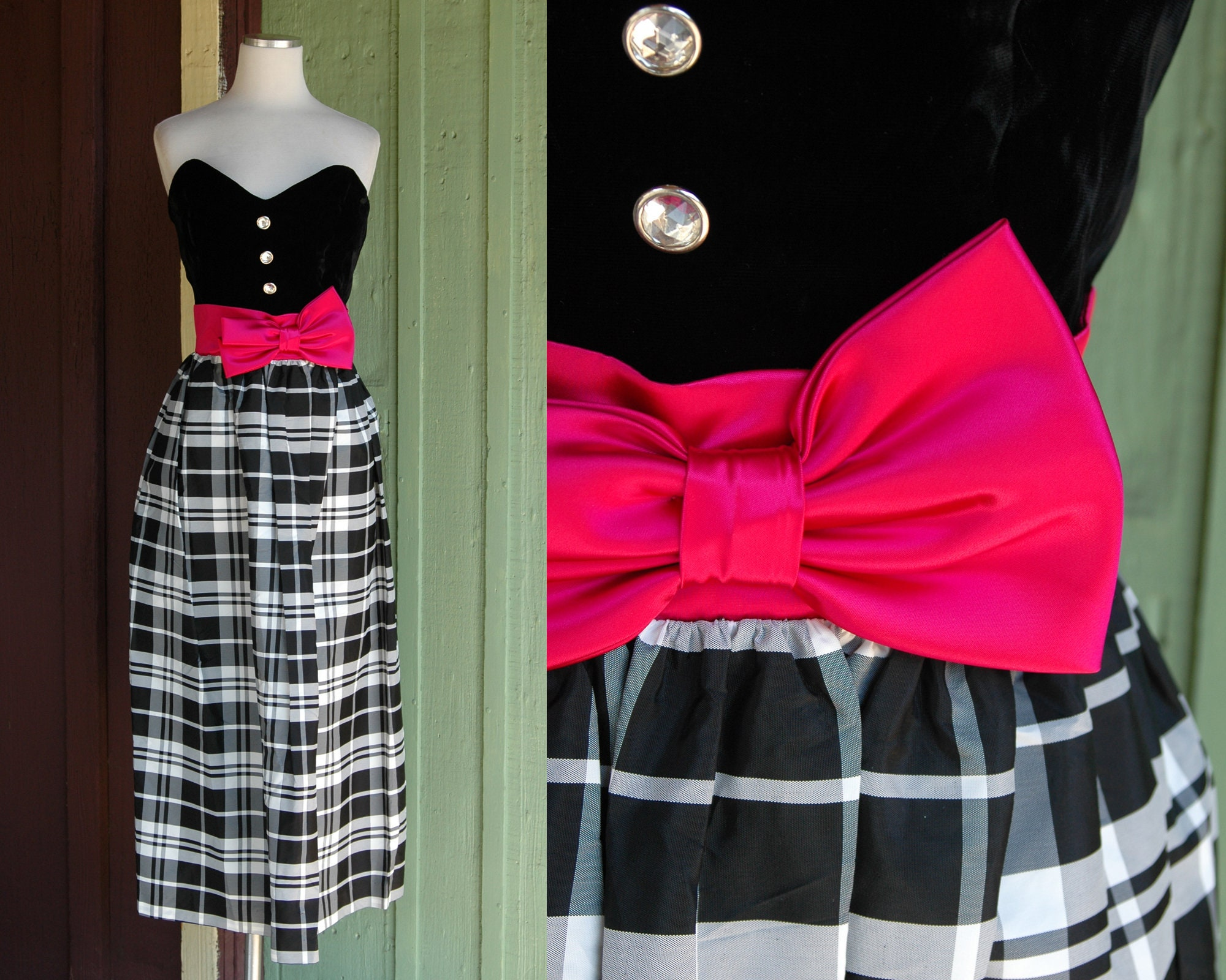 80s Dresses | Casual to Party Dresses Holiday 1980S Black Velvet Sweetheart  White Checked Formal Gown With Pink Satin Belt Bow 80S Plaid Party Dress By Positively Ellyn $0.00 AT vintagedancer.com