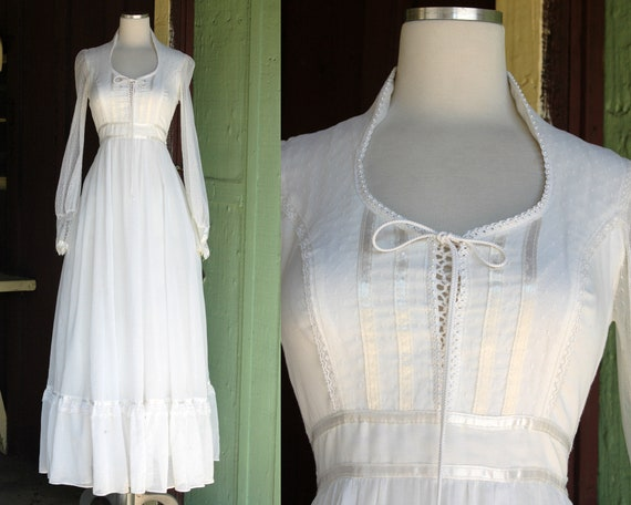 1970s Warm White Gunne Sax Prairie Maxi Dress // 7