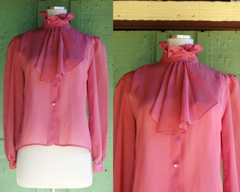 73699550507d2 1970s 1980s Sheer Dusty Rose Pink Ruffle Collar Blouse    70s