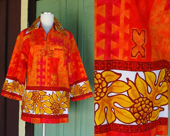 1960s Red Orange Yellow Tropical Hawaiian Print T… - image 1