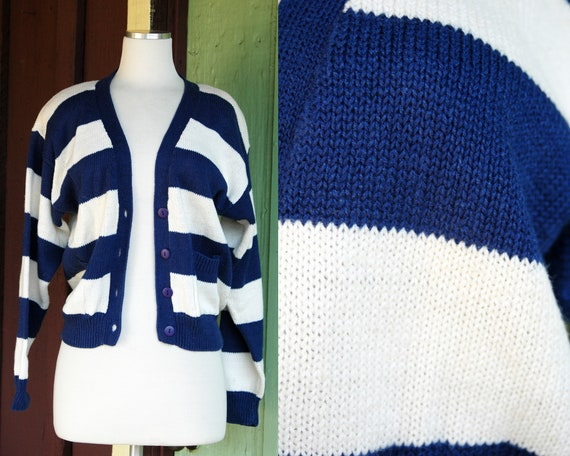 1980s 1990s Blue White Striped Cropped Cardigan Sw
