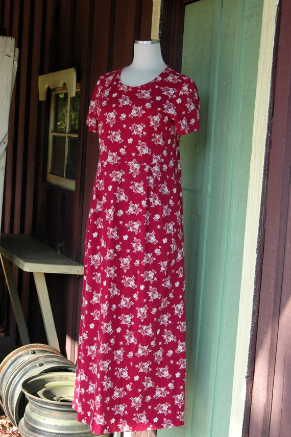 1990s 2000s Red and White Rose Print Laura Ashley… - image 3