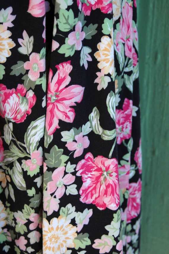 1990s Laura Ashley Pink and Yellow Floral Print D… - image 8