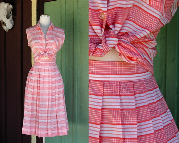 1950s Red and White Striped Plaid Skirt and Top Se