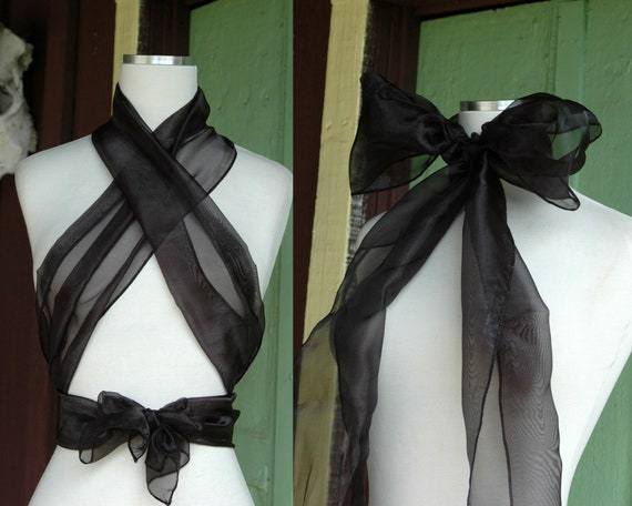 Sheer Black Organza Scarf