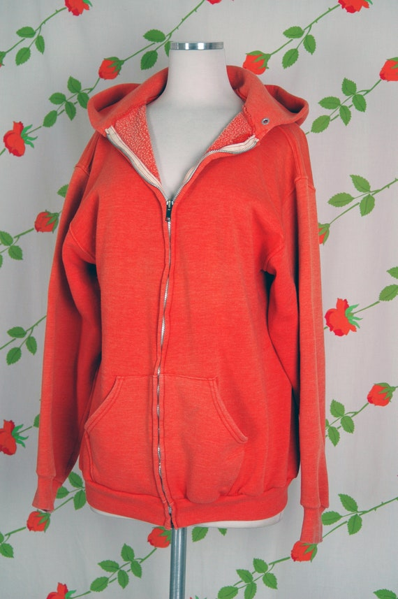 1970s Russell Athletic Orange Faded Zip Front Hoo… - image 3