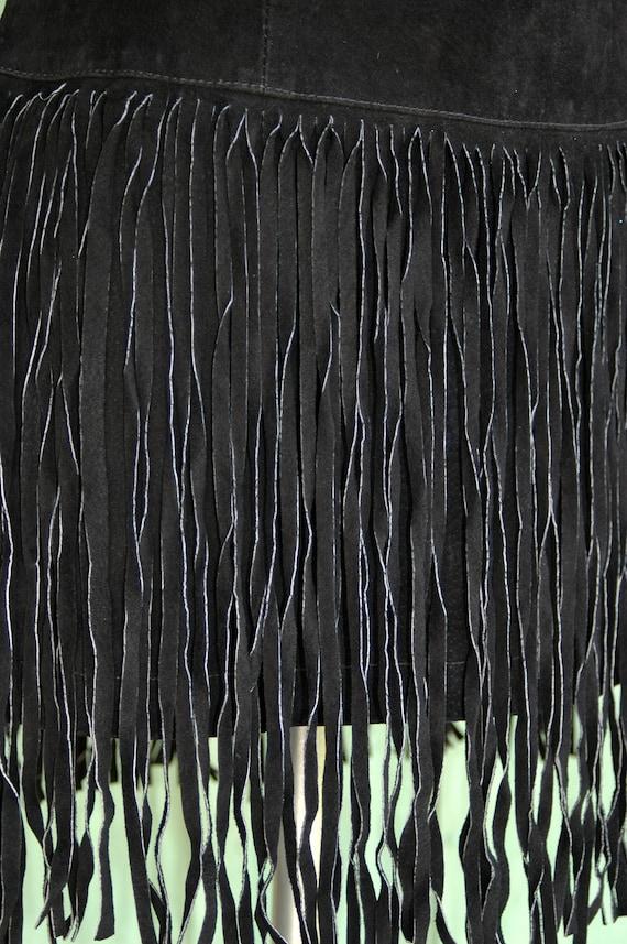 1980s 1990s Black Suede Mini Dress with Fringe Sk… - image 7