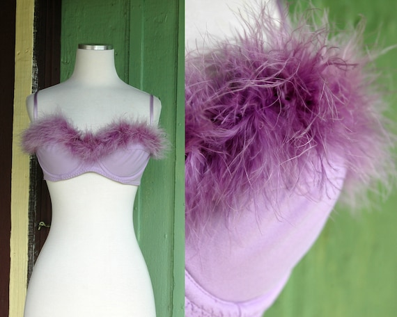 Lavender Light Purple Marabou Feather Trimmed Bra