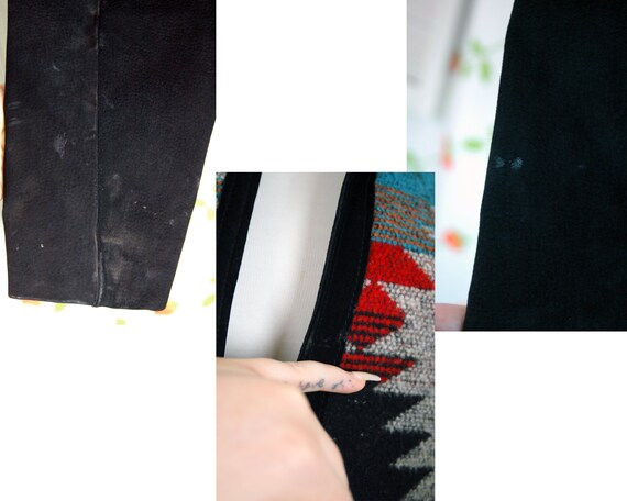 1980s Black Suede Leather Western Chimayo Cropped… - image 10