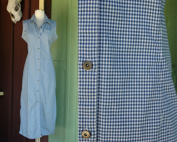 1990s Blue and White Checkered Liz Claiborne Jumpe