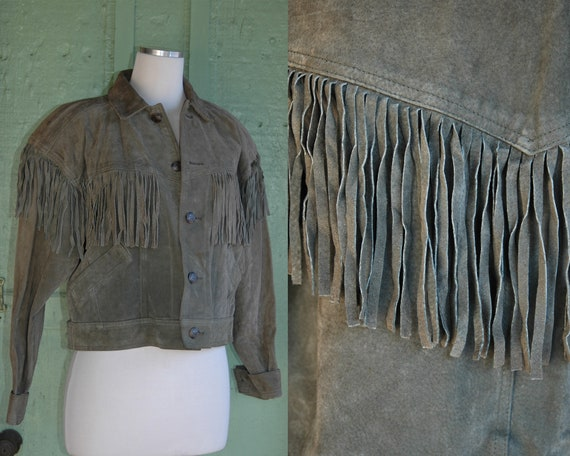 1980s Dusty Olive Green Suede Fringe Jacket // 80s