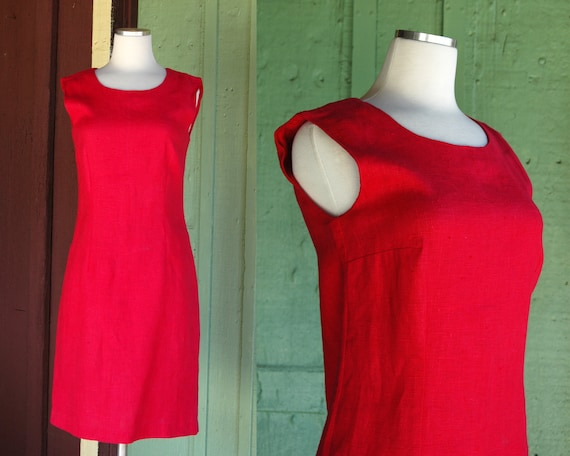 1980s 1990s Red Raspberry Jumper Dress // 80s 90s