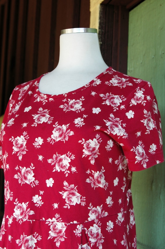 1990s 2000s Red and White Rose Print Laura Ashley… - image 4