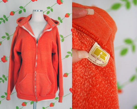 1970s Russell Athletic Orange Faded Zip Front Hoo… - image 1