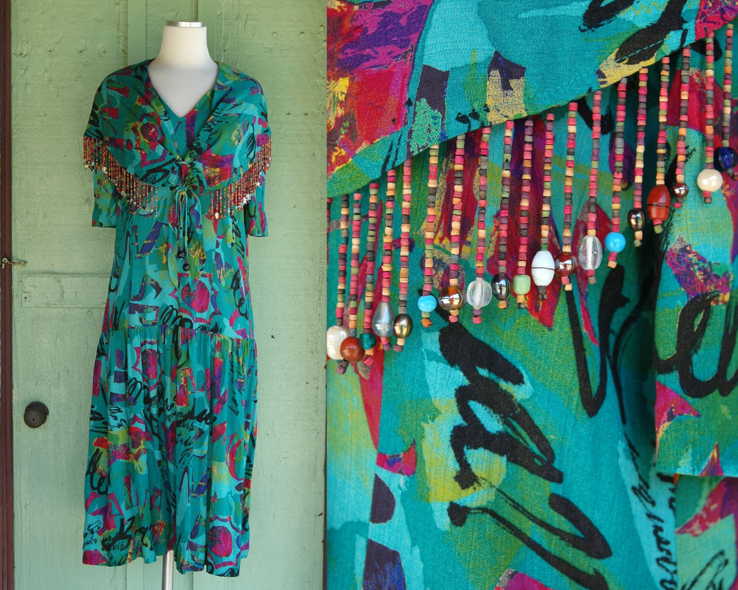 80s Dresses | Casual to Party Dresses 1980S 1990S Green Pink Abstract Print Dress With Beaded Fringe  80S 90S Carole Little Bright Colorful Drop Waist Sailor Collar $0.00 AT vintagedancer.com