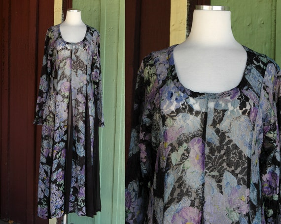 1980s Sheer Purple Blue Green Lace Black Sheer Pan